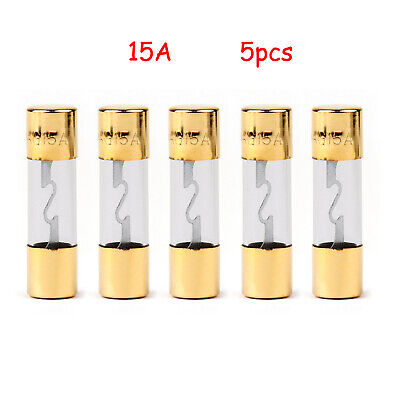 5x AGU FUSIBILI Car Audio Power Safety Protection Glass Tube Placcato Or 15A IT