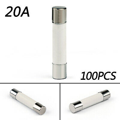 100x 6x30mm 20Amp 20A 250V Ceramic FUSIBILI Tube Fast Blow FUSIBILI IT