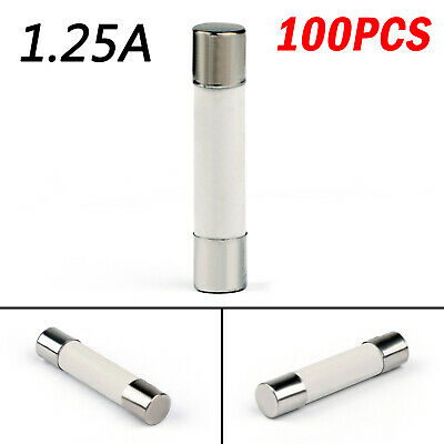 100x 6x30mm 1.25Amp 1.25A 250V Ceramic FUSIBILI Tube Fast Blow FUSIBILI IT