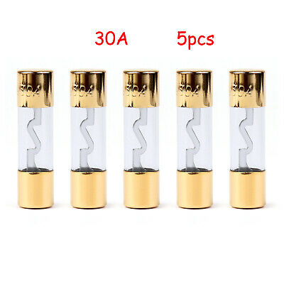 5x AGU FUSIBILI Car Audio Power Safety Protection Glass Tube Placcato Or 30A IT
