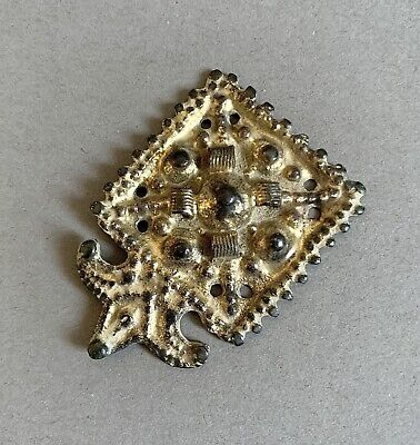 Beautiful Early Medieval Gold Plated Bronze Belt Applique C.11th-12h Century A.D