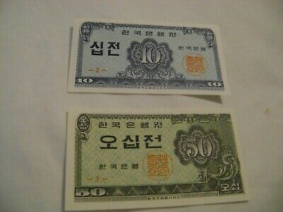 SOUTH KOREA-(-1962-)-10,50 JEON-LOT of 2 BANKNOTES-UNCIRCULATED