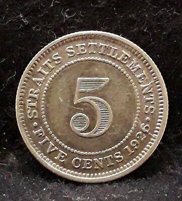 1926 Straits Settlements silver 5 cents, George V, 2 year type, KM-36 (SS4)