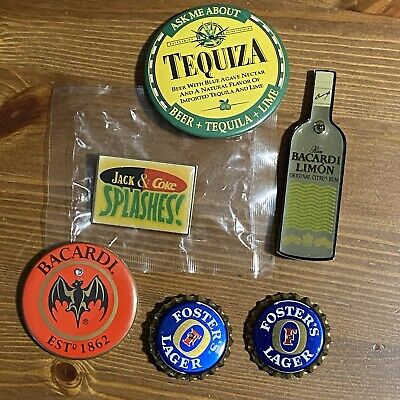 Lot of 6 Alcohol Advertising Pins Bacardi, Tequiza, Foster's Lager, Jack & Coke