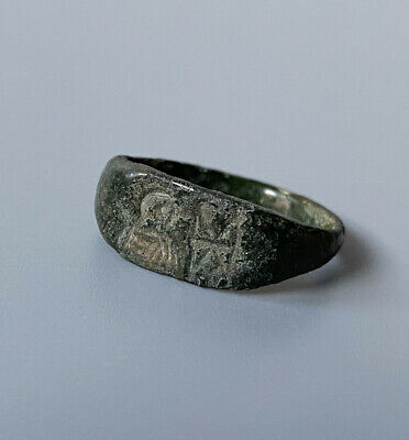 Ancient Byzantine Bronze Ring With Saint C.6th - 8th Century A.D. U.K.Size: R