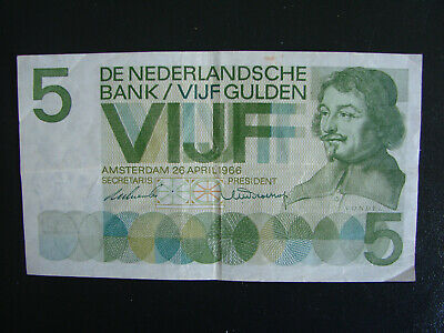 Banknote – Netherlands 5 Vijf Gulden - 26 Apr 1966