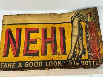 hand painted  NEHI sign, 1930's soda pop roadside attraction