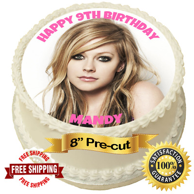 Birthday// Avril Lavigne 7 Inch Edible Image Cake /& Cupcake Toppers