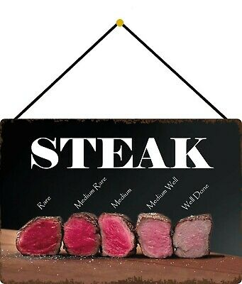 Steak - Rare, Well Done, Medium Shield with Cord Tin Sign 7 7/8x11 13/16in