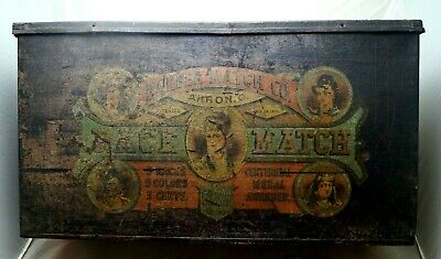 Antique 1870s -80s Era Barber Match Co Akron Ohio Advertising Tin Sign VERY RARE