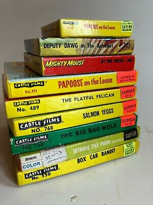 9 Super 8 vintage Castle Films cartoon movies, Mighty Mouse, Papoose, Pooh boxed