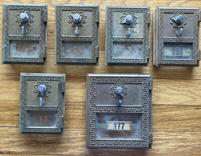Lot Of 6 1962 American Device Post Office Mailbox Doors - Combination Style