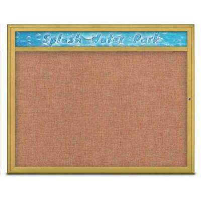 UNITED VISUAL PRODUCTS UV801448-GOLD-CINNABA Single Door Radius Corkboard With