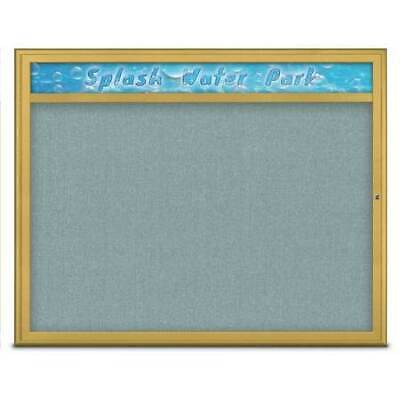 UNITED VISUAL PRODUCTS UV801448-GOLD-CLOUD Single Door Radius Corkboard With