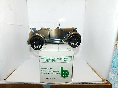 "Antique Auto 1929 Model A Ford Coin Bank In Original Box -  6"" Die-Cast Bank"