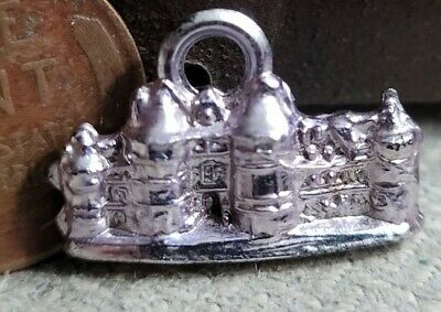 Vintage plastic purple chrome CASTLE gumball charm prize jewelry