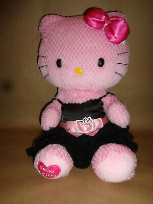 Build A Bear Pink Hello Kitty Plush, Black Dress Heart Patch Silver Belt Buckle