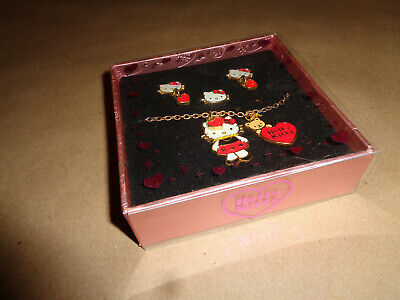 2008 Hello Kitty Jewelry Set Earrings, Necklace w/ Charms & Ring IN ORIGINAL BOX