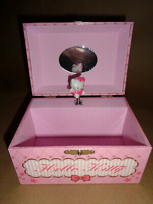 Hello Kitty Musical Jewelry Box w/ Dancing Hello Kitty Pink Wind-up Music Box