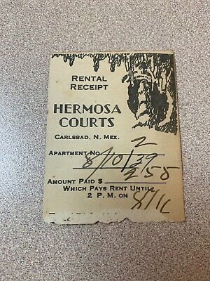 1939 Hermosa Courts Hotel Rental Receipt-Carlsbad New Mexico