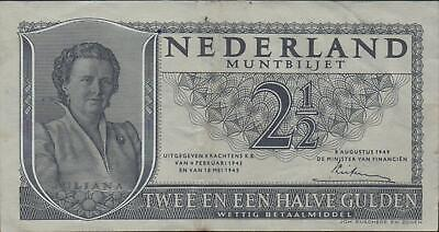 Netherlands  2 1/2  Gulden  8.8.1949  P 73 Series 2GL  Circulated Banknote JWMac