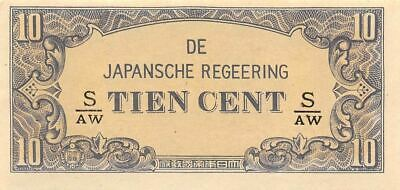 Netherlands Indies 10 Cent  ND. 1942  Series S/AW  WWII Uncirculated Banknote J3