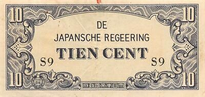 Netherlands Indies 10 Cent  ND. 1942  Block S9  WWII Circulated Banknote J4