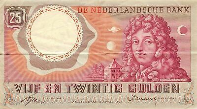 Netherlands  25 Gulden  10.4.1955  P 87 Series BSL  circulated Banknote