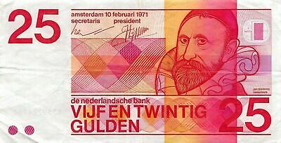Netherlands  25  Gulden  10.2.1971  P 92a  Circulated Banknote X10