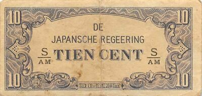 Netherlands Indies 10 Cent  ND. 1942  Block S/AM  WWII Circulated Banknote J3