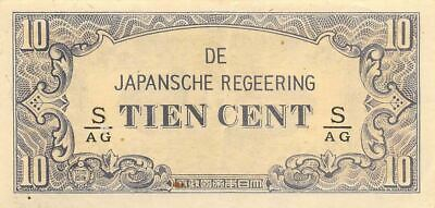 Netherlands Indies 10 Cent  ND. 1942  Block S/AG  WWII Circulated Banknote J3