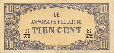 Netherlands Indies 10 Cent  ND. 1942  Block S/AX  WWII Circulated Banknote J3
