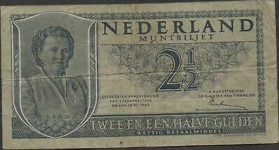 Netherlands  2 1/2  Gulden  8.8.1949  P 73  Series 5 AV Circulated Banknote Me22