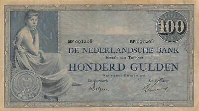 Netherlands  100  Gulden  5.12.1928  P 39d  Series  BP  Circulated Banknote