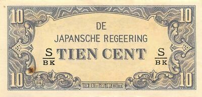 Netherlands Indies 10 Cent  ND. 1942  Block S/BK  WWII Circulated Banknote J3