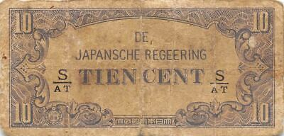 Netherlands Indies 10 Cent  ND. 1942  Block S/AT  WWII Circulated Banknote J3