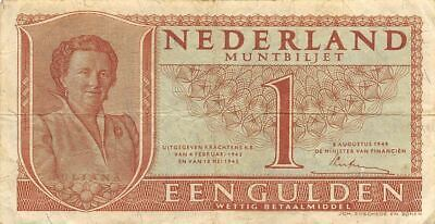 Netherlands  1  Gulden   8.8.1949   P 72  Series  4DJ  Circulated Banknote ME3