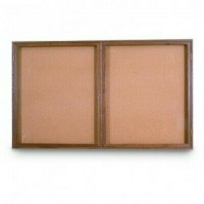 UNITED VISUAL PRODUCTS UV103W Double Door Wood Enclosed Corkboard,48