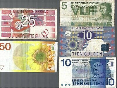 Netherlands ✨ 5 10 10 25 & 50 Gulden 5 banknotes ✨ Collections & Lots #61822