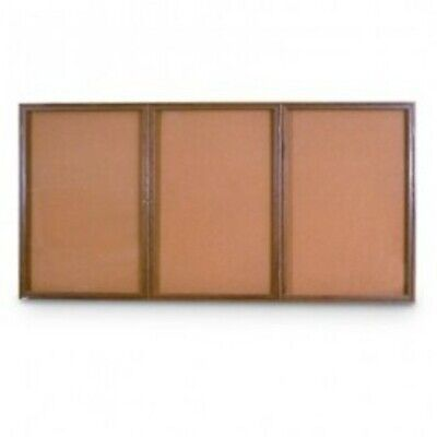 UNITED VISUAL PRODUCTS UV108W Triple Door Wood Enclosed Corkboard,72