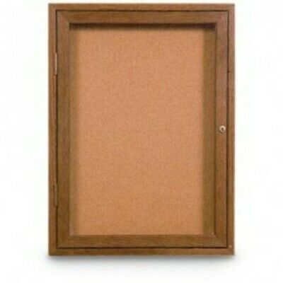 UNITED VISUAL PRODUCTS UV101W Single Door Wood Enclosed Corkboard,24