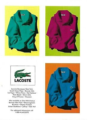 Lacoste Alligator Shirts Pink Blue Turquoise Photo Print Ad 2000