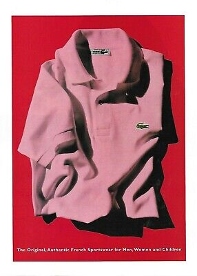 Lacoste Alligator Pink Shirt Photo Print Ad 2000