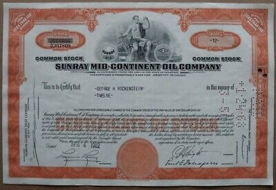 Sunray Mid-Continent Oil Company Stock certificate 1962 - Series: 0307808