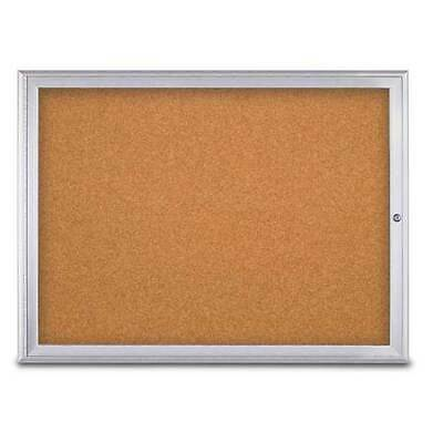 "UNITED VISUAL PRODUCTS UV80031-SATIN-CORK Single Door Radius Corkboard,48""X36"",S"