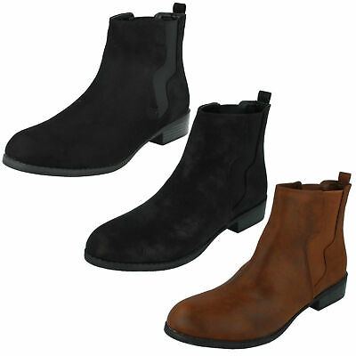 Spot On Ladies F4R416  Microfibre Black or Brown Ankle Boots Jen R43A
