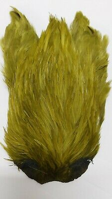 """INDIA CAPE  /"""" Rooster Cock Neck Cape #1 /""""  YELLOW   Fly Tying Dry Flies"""