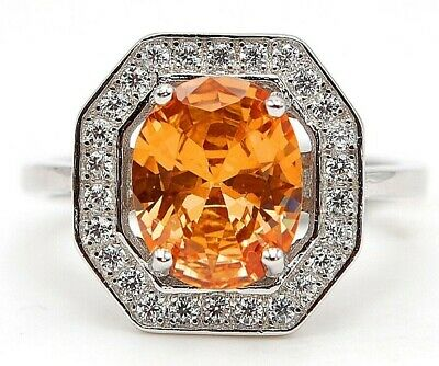 3CT Padparadscha Sapphire /& Topaz 925 Solid Sterling Silver Ring US Size 6