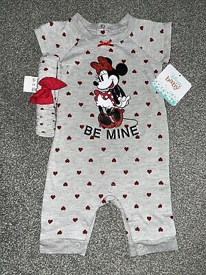 Baby Girls Minnie Mouse 2 Pc Be Mine Romper Headband Set Valentines Day Hearts