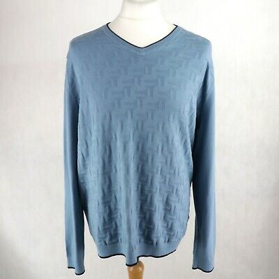 Mens TED BAKER GOLF Armstro Knitted Jumper Size 5 UK XL Sweater Pullover V-neck